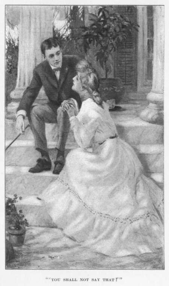 Editha sits on a porch convincing George to fight in the war.