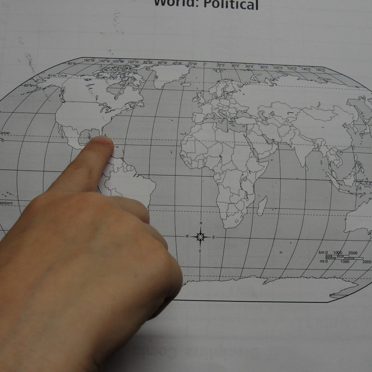 Finding locations on a world map