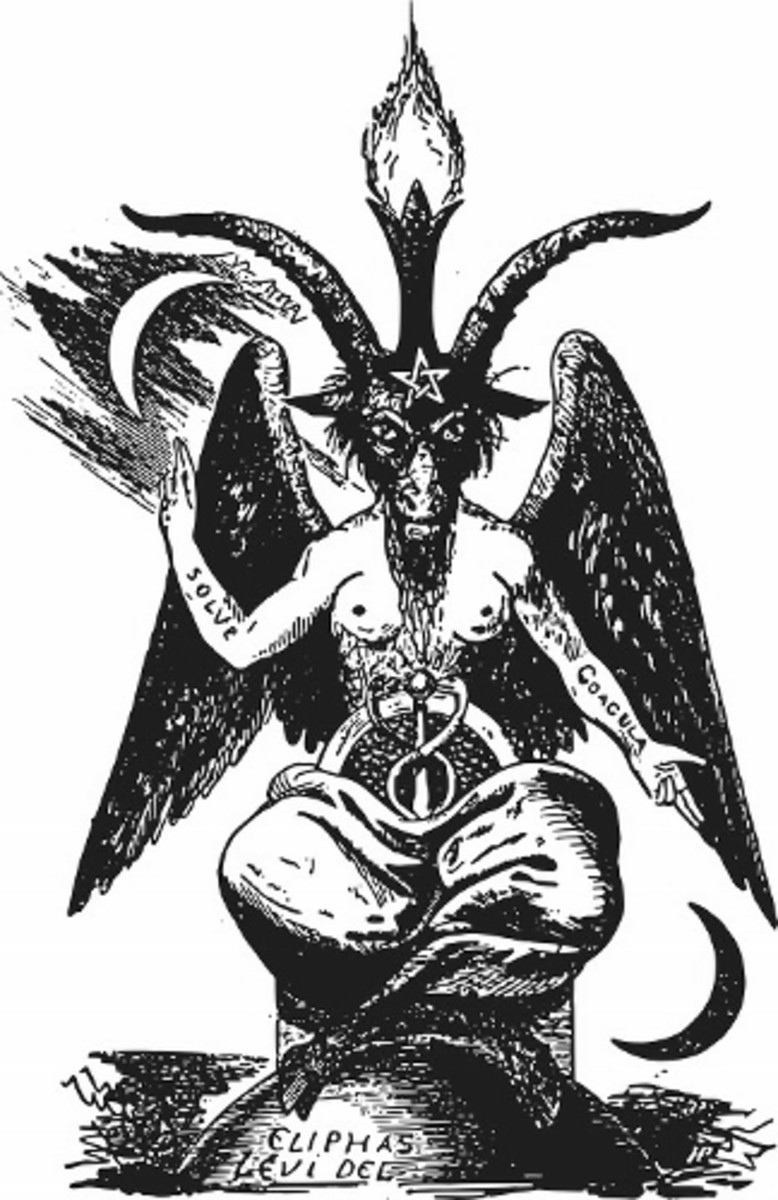 Baphomet, one of the many forms Satan will assume; Satan oft takes on forms to represent that which does or does not serve us. Baphomet depicts alchemy and balance--offsetting that which works against us with that which serves us