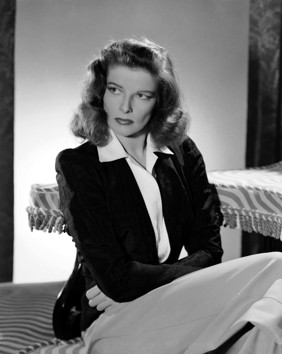 Katharine Hepburn in her trademark pants.