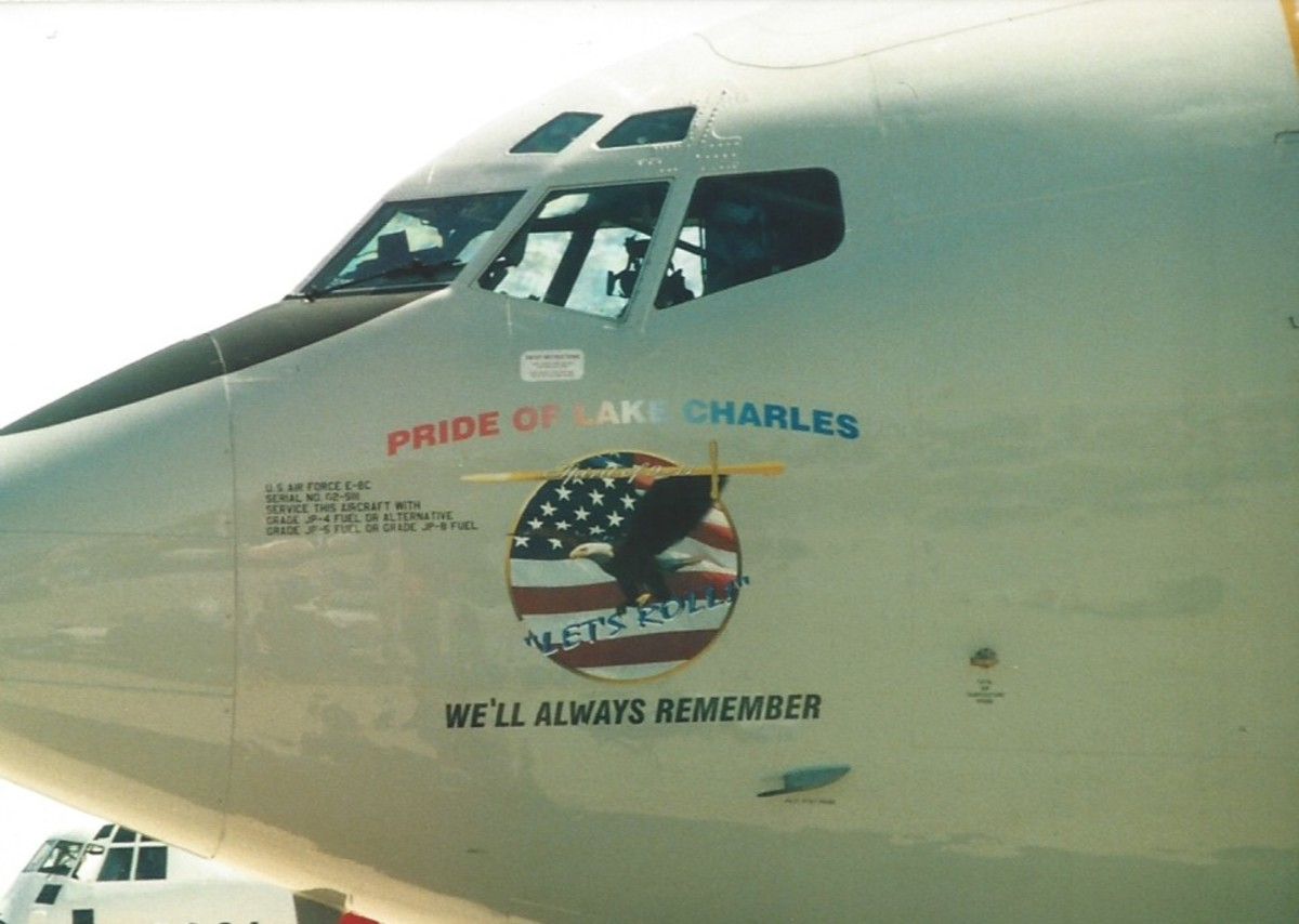"""The RC-135 Price of Lake Charles, serial number AF 02-9111, with """"Let's Roll"""" emblem."""