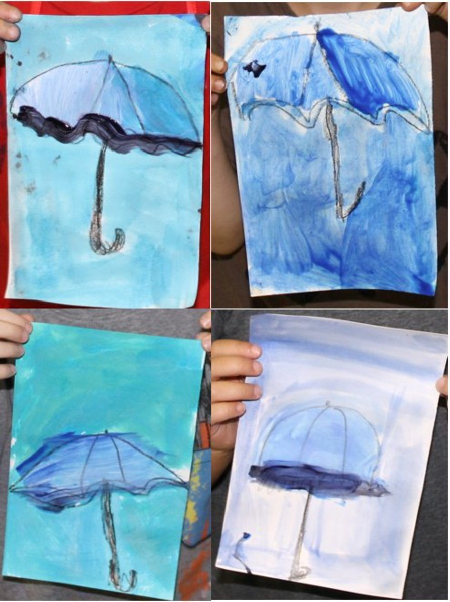 Renoir umbrellas using tempera paint tints and shades