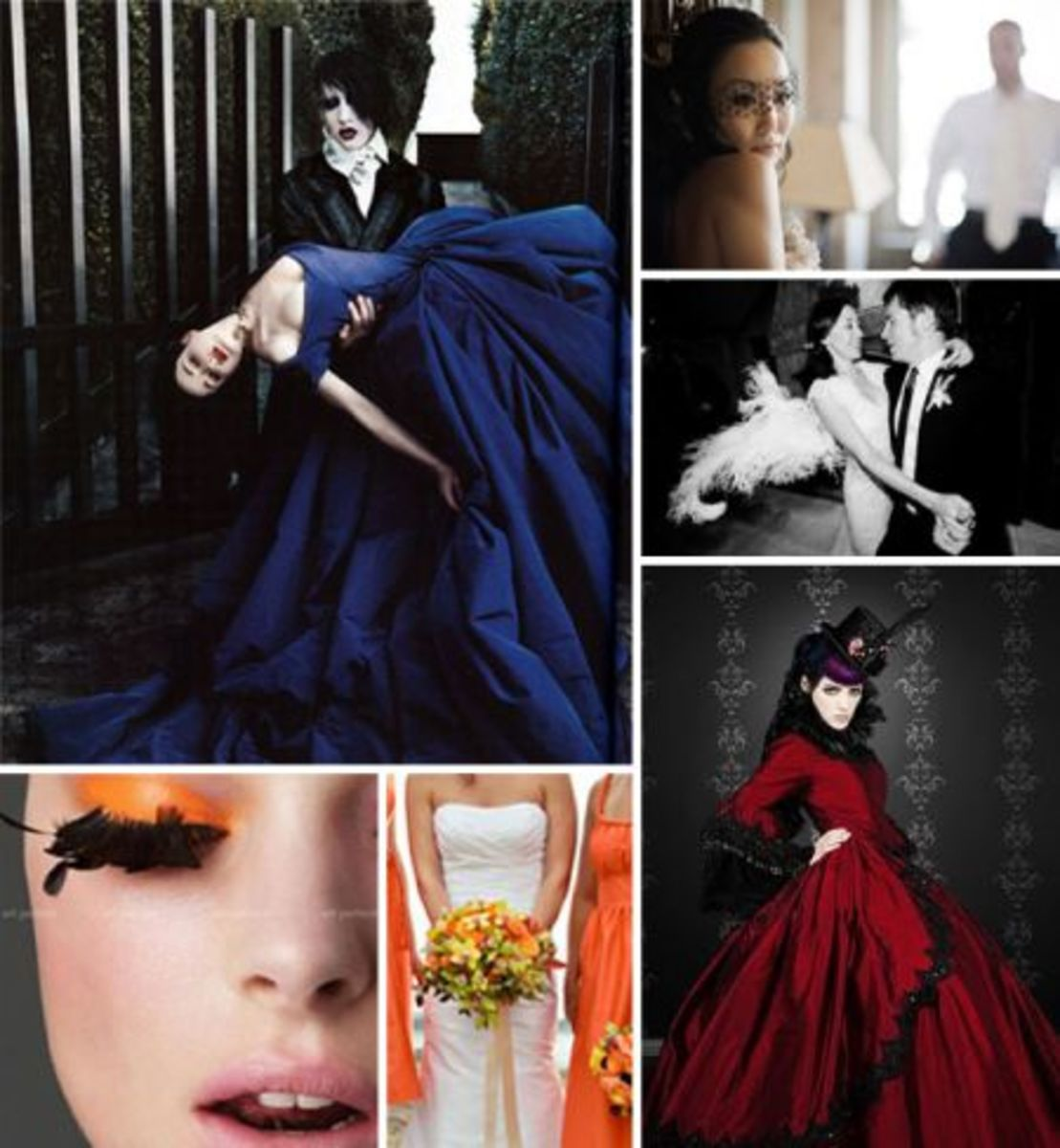 """The best thing about Gothic weddings is the availability and need to use """"jewel tone"""" bridal colors. A Gothic wedding  enhanced in a deep Caribbean blue is certainly my favorite."""