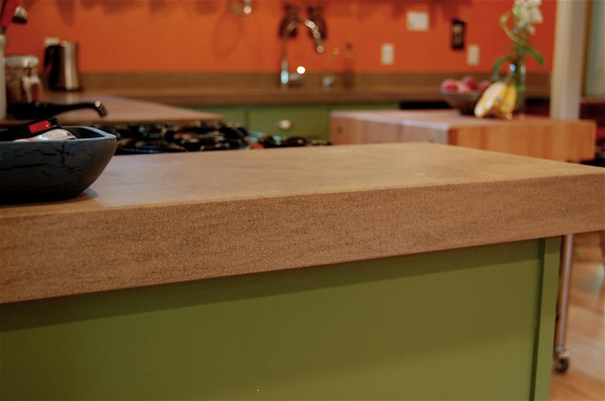 Limestone countertop.