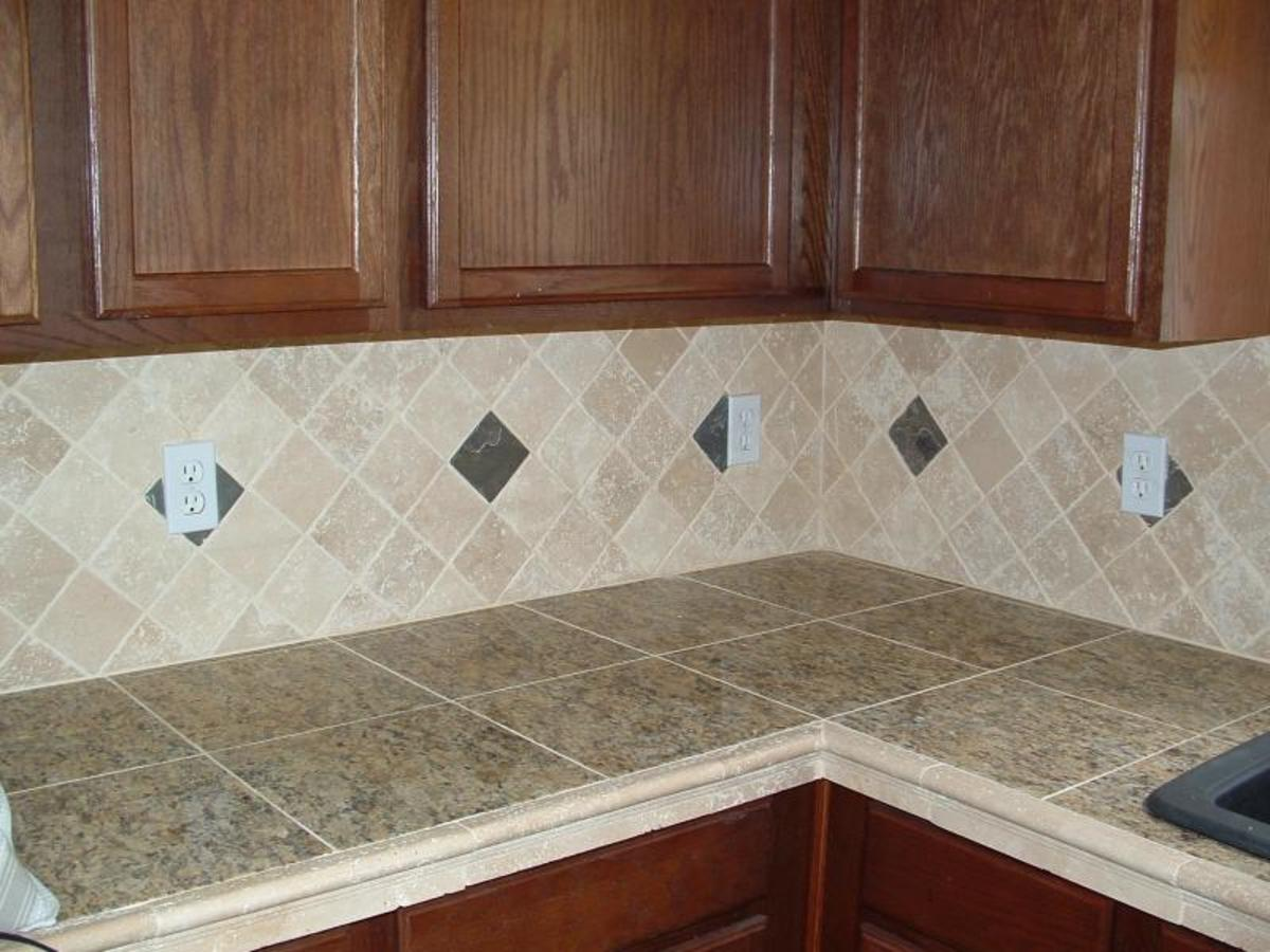 This is a beautiful example of a high-end granite tile countertop.