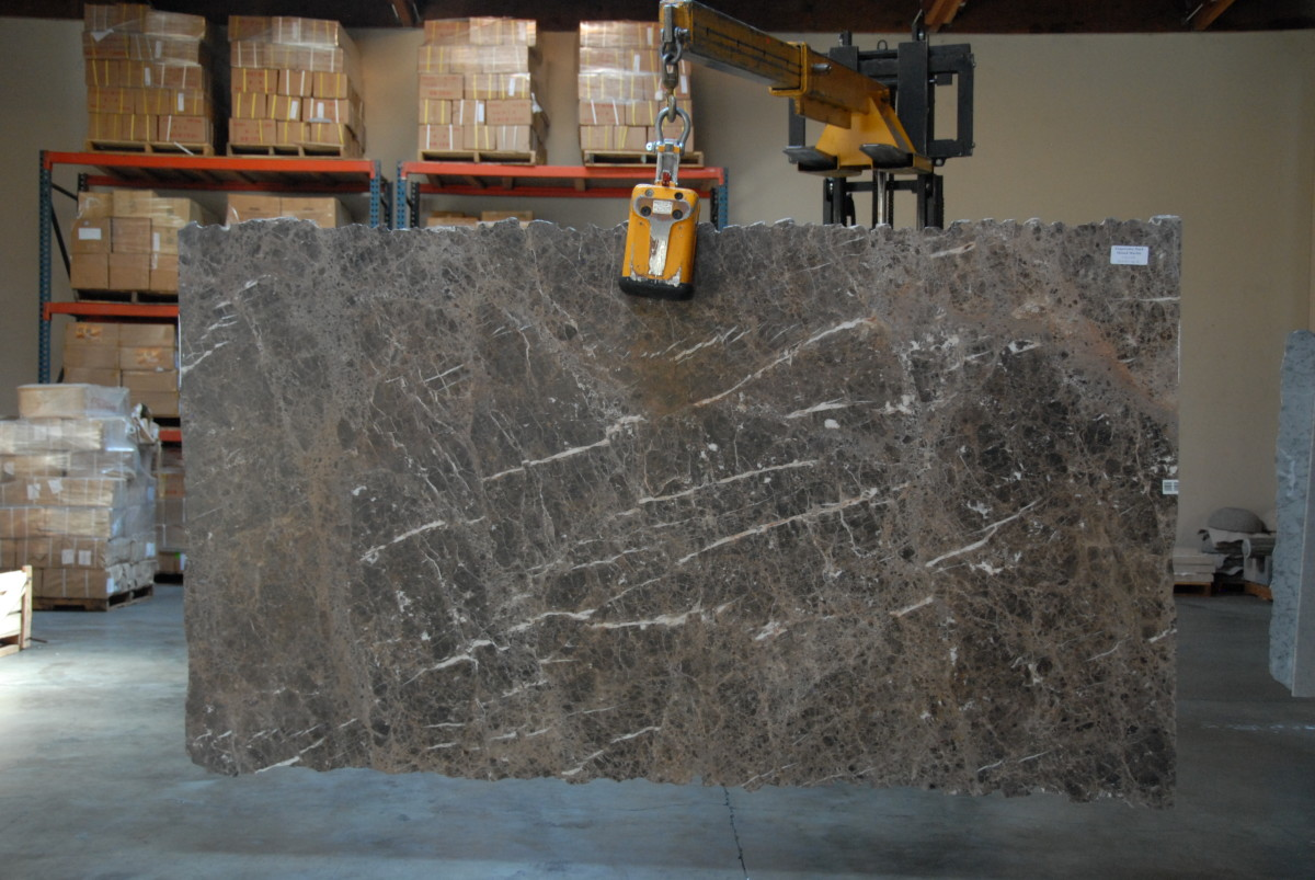Honed marble slab.