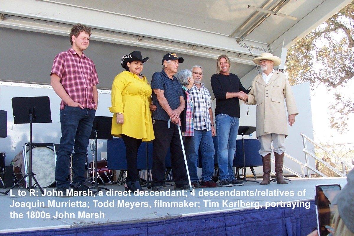 Descendants of both the Murrieta and Marsh familys meet on stage.