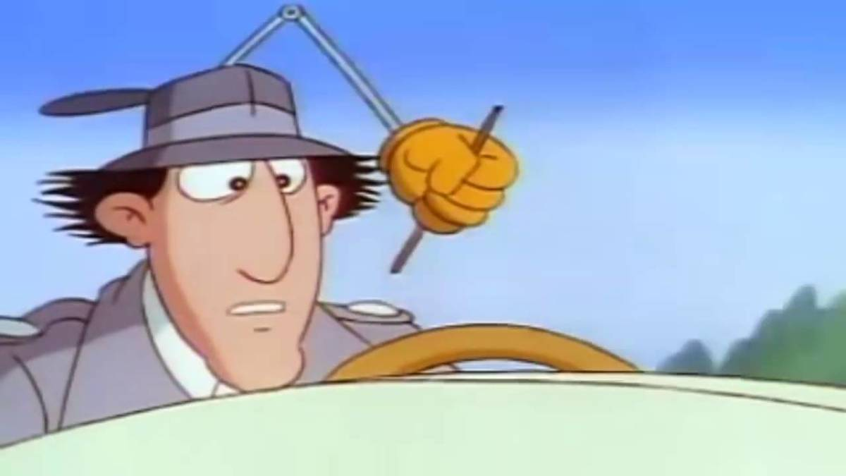 Inspector Gadget is seen here in the speed boat wondering why he has been pursued by Dr. Claw's agents.