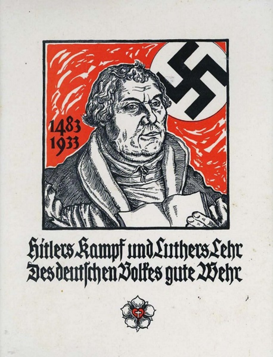 Hitler's Kampf und Luther's Lehr Des deutschen Volkes gute Wehr (Hitler's fight and Luther's teaching are the best defense for the German people) Nazi propaganda poster 1933.