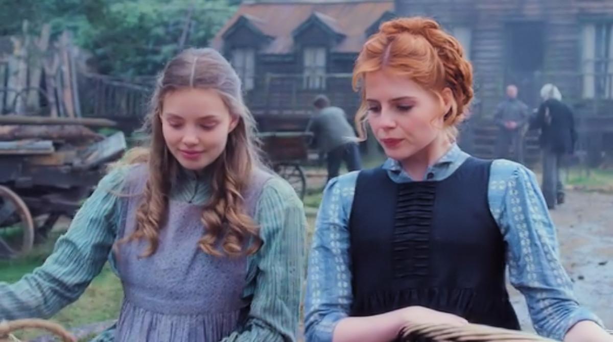 Ffion (Kristine Froseth) and Andrea (Lucy Boynton) discuss Ffion's possible pregnancy in 'Apostle', a Netflix Original (2018).