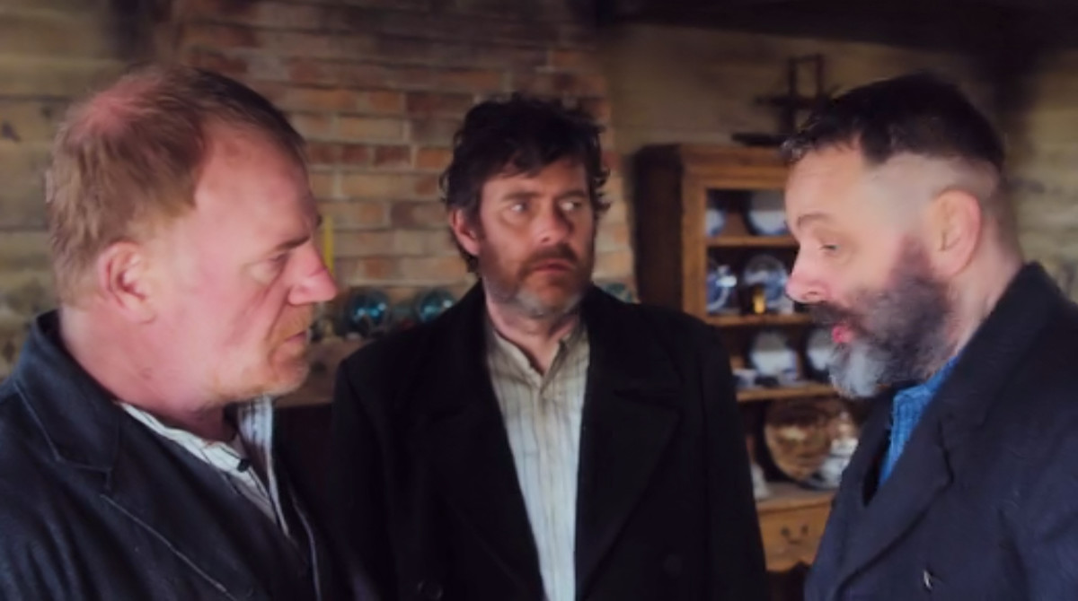 Erisden founders Quinn, Frank and Malcolm discuss their plan of attack in 'Apostle', a Netflix Original (2018).