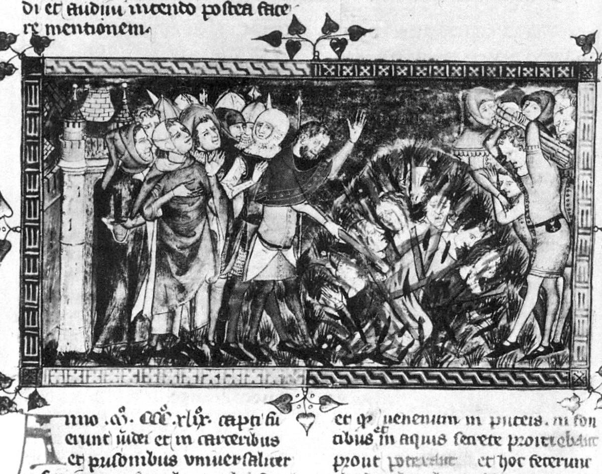 Representation of a massacre of the Jews in 1349 Antiquitates Flandriae (Royal Library of Belgium manuscript 1376/77)