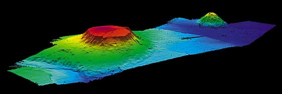 A computer generated image created from bathymetric data, showing the Bear guyot in the foreground and the Physalia seamount behind