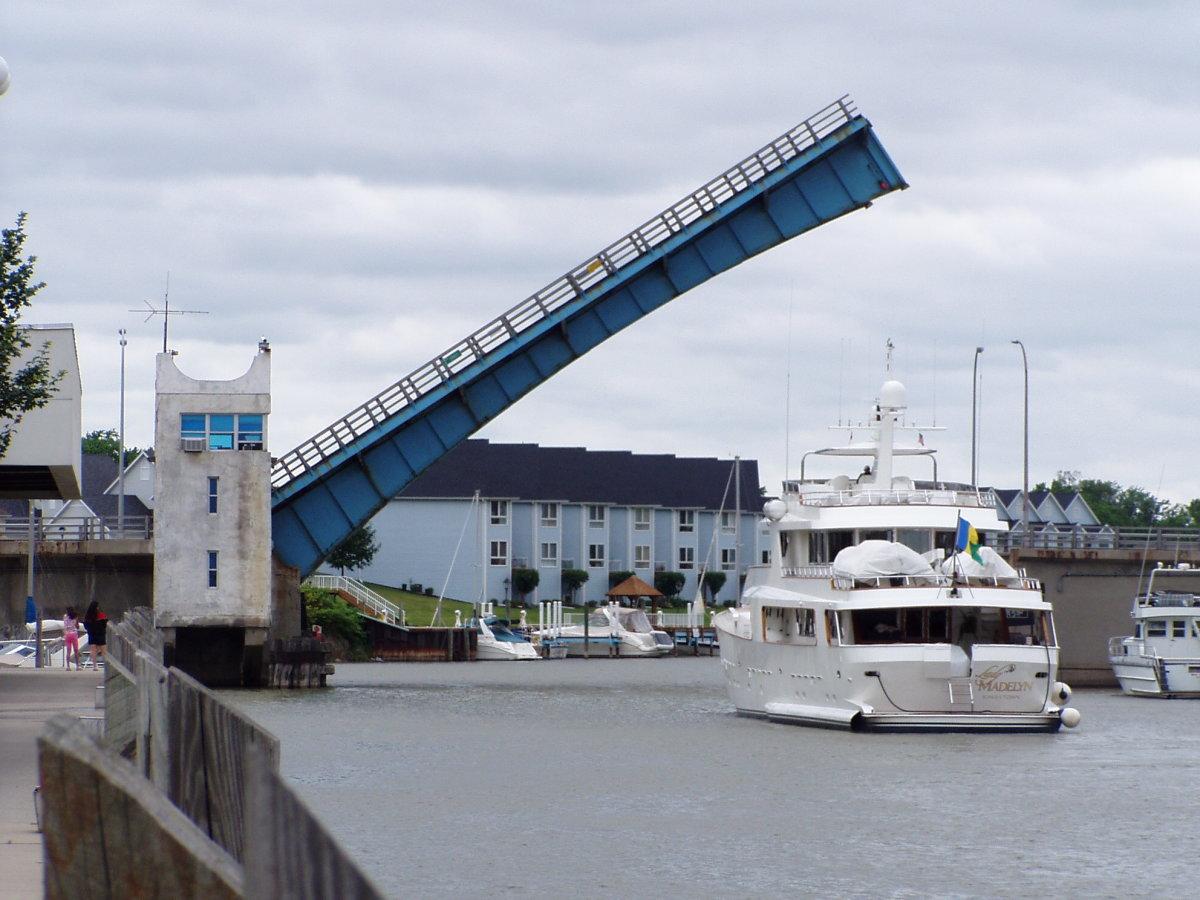 Seventh Street (Erie St) bridge over the Black River in Port Huron, Michigan.