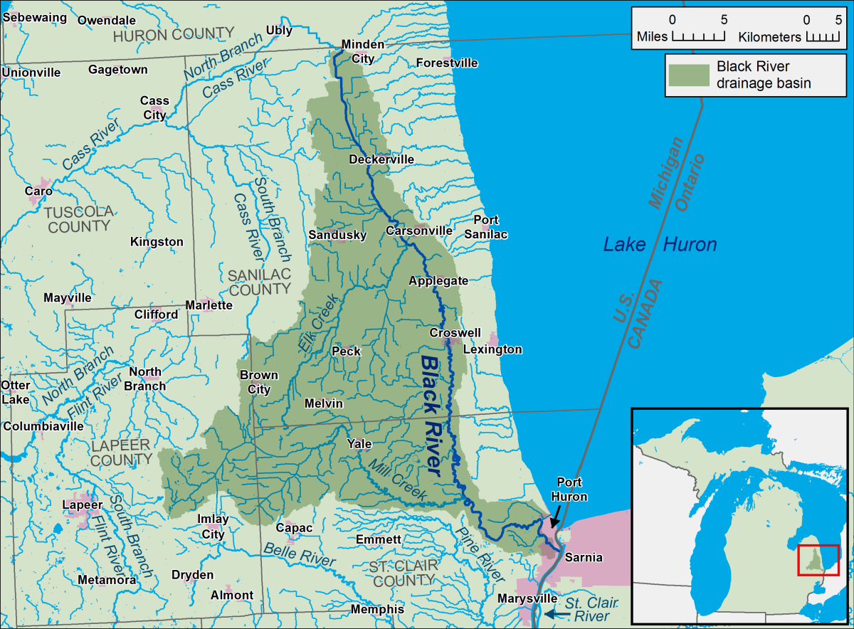 A map of the Black River and its watershed ) in Sanilac and St. Clair counties in Michigan.