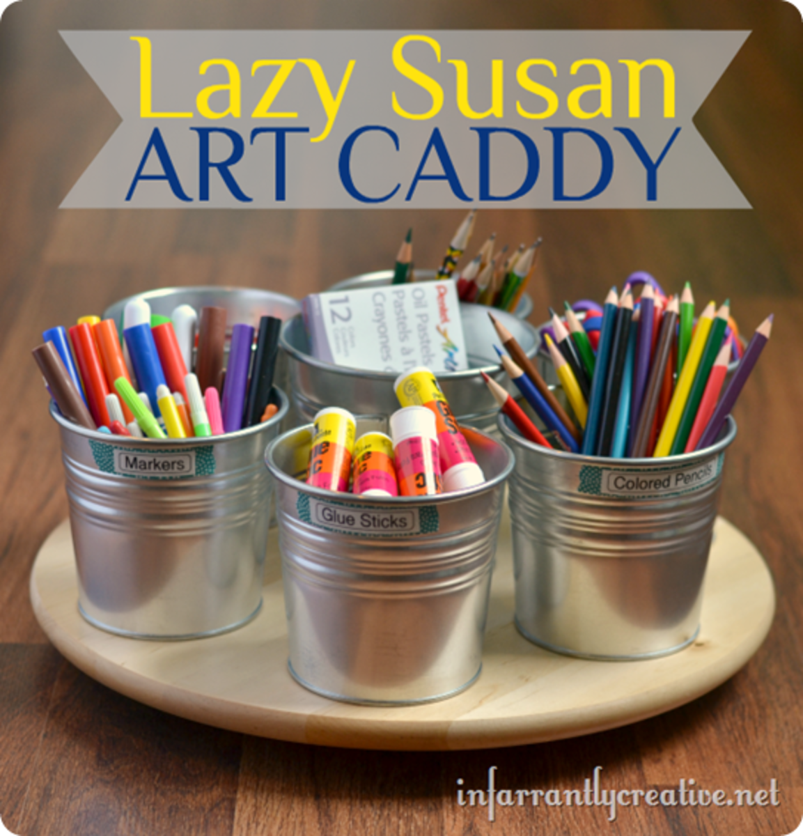 Make this art caddy on a lazy susan