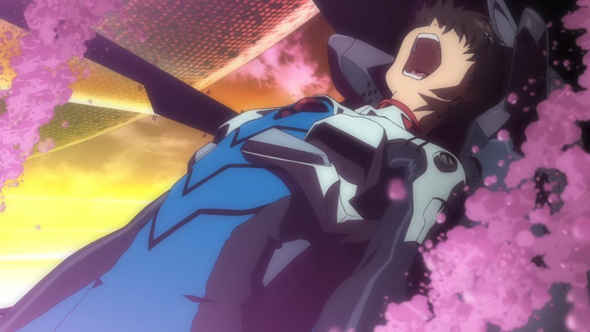 Shinji, facing the wrath of Ramiel.