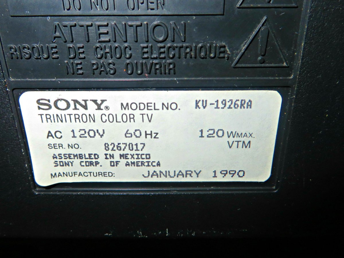 Sony took a lot of Pride back in the last years of Anolog Televisions, as the label gives you the details of what you have purchased.