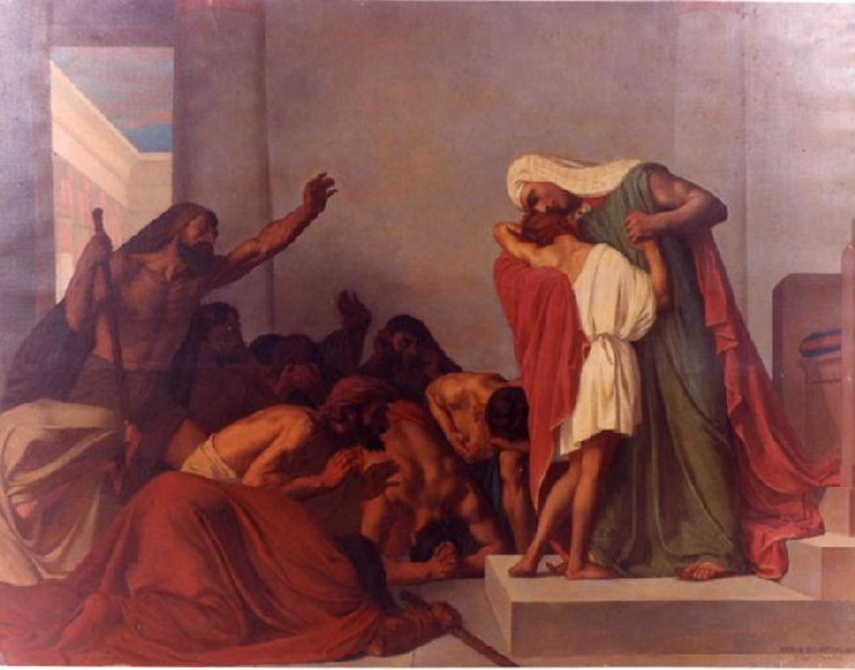 Joseph recognized by his brothers by Leon Pierre Urbaine Bourgeois, 1863.