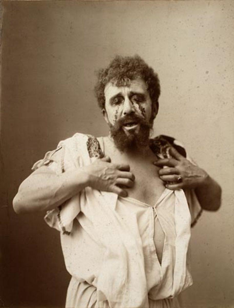 Albert Greiner Sr. & Jr. portraying Oedipus, circa 1896.