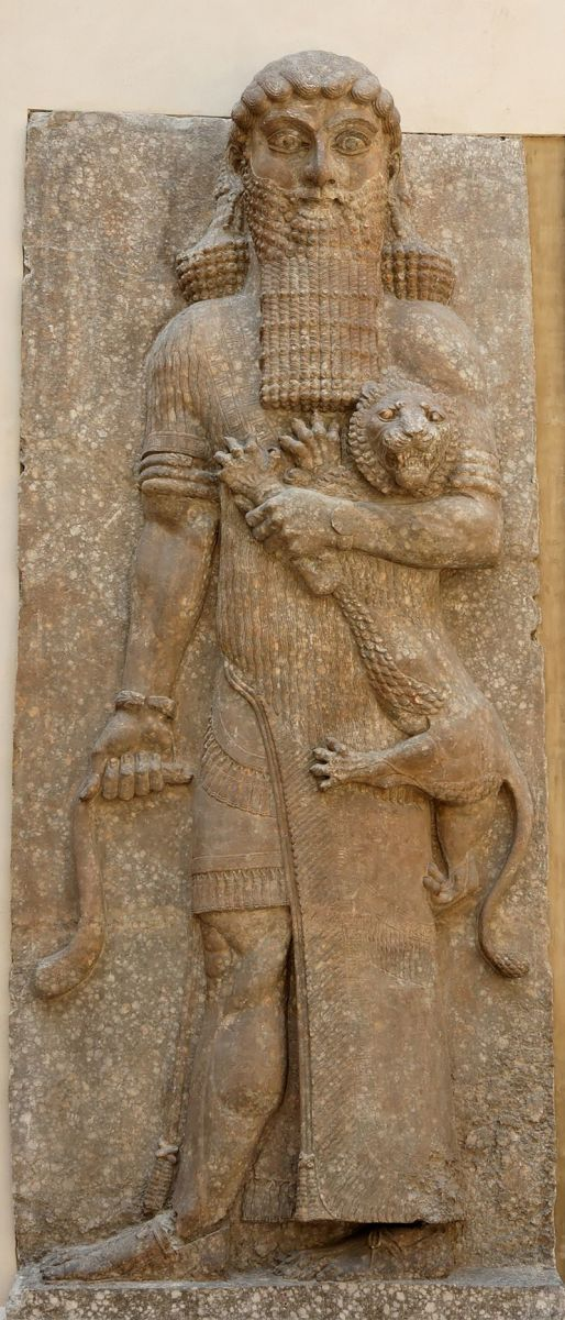 Hero mastering a lion.  Relief from the façade of the throne room, Palace of Sargon at Khorsabad, 713-706 BCE.