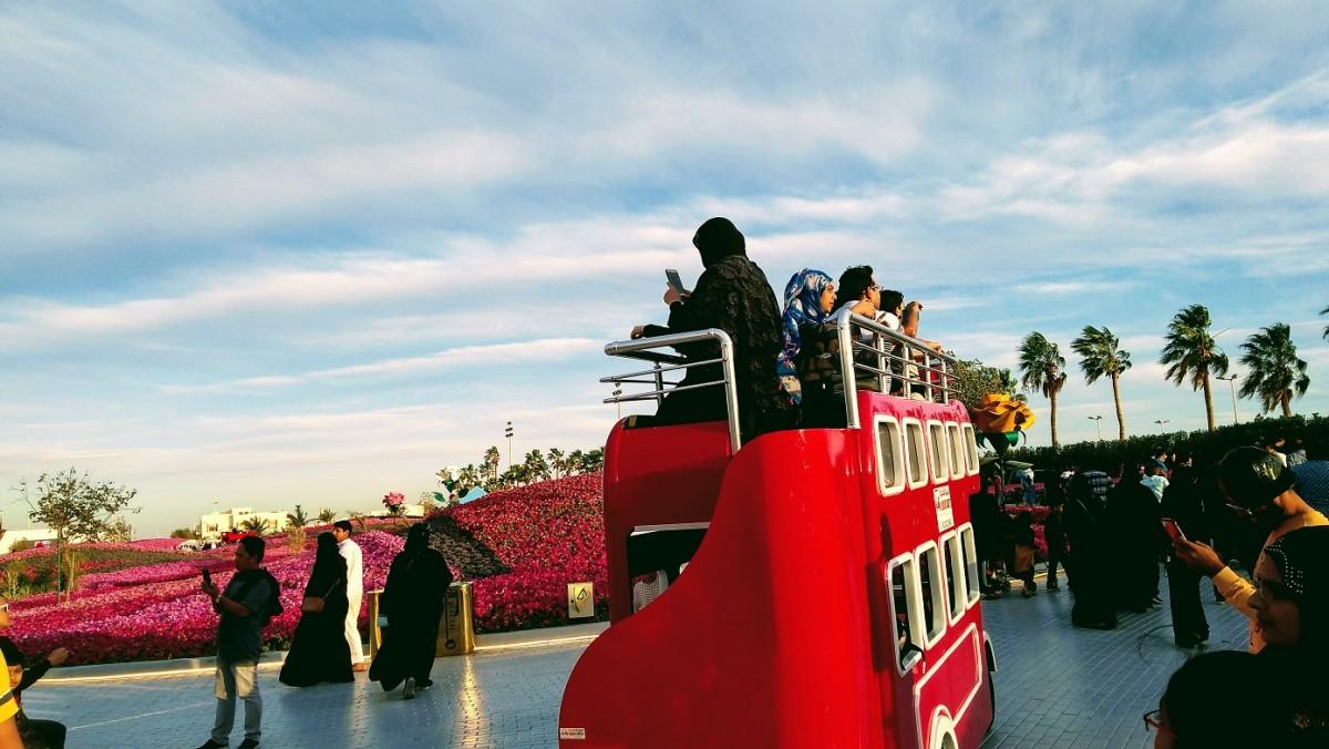 A mini tram at minimal cost of SR20 will take you around to take panoramic shots.  #YanbuFlowersFestival2029