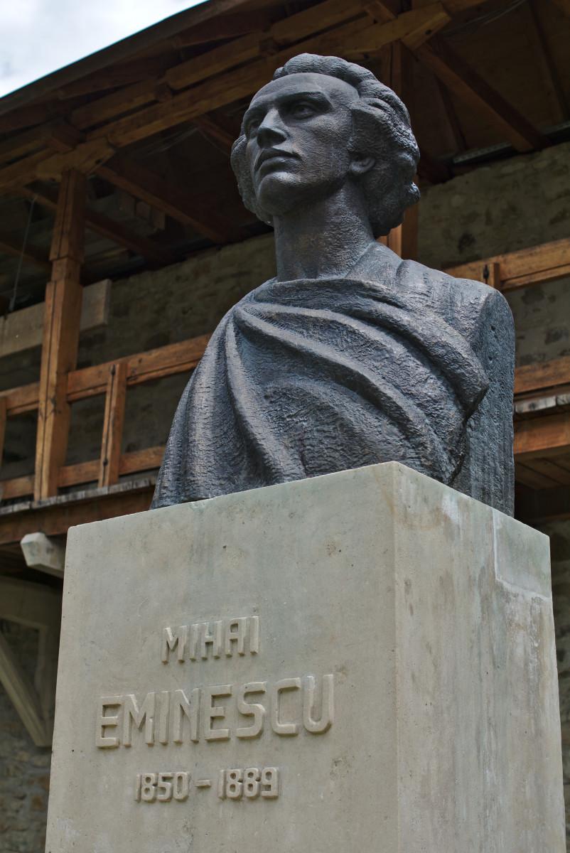 Statue of Mihai Eminescu at Putna Monastery, Putna, Romania