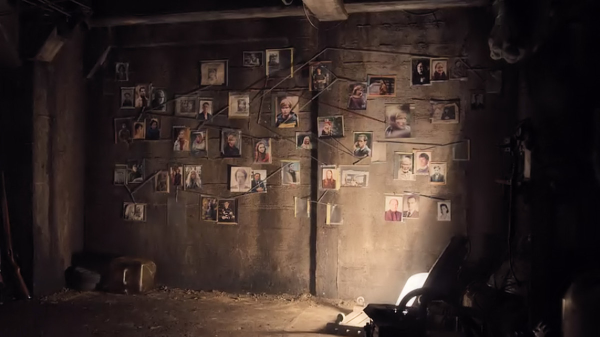 Photos depicting the people of Winden are tacked to a wall in 'Dark' (2017), a Netflix Original Series.