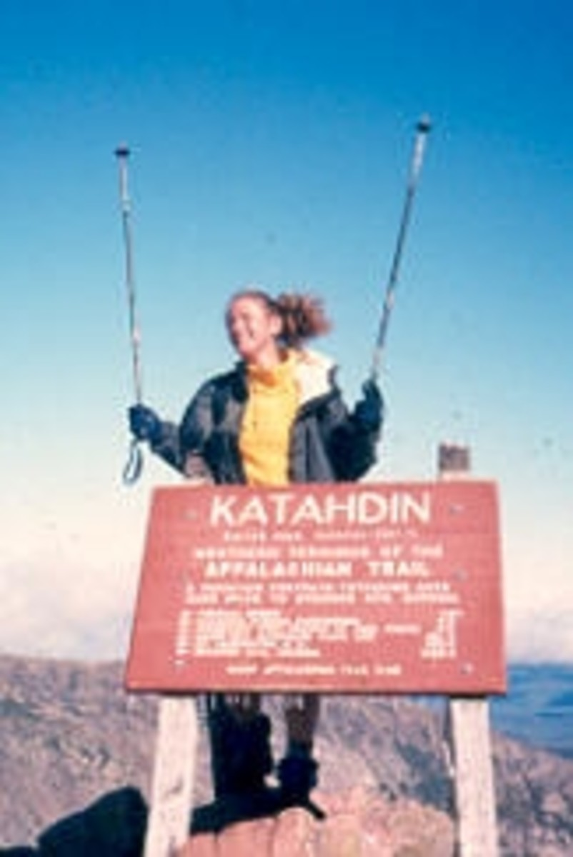 Me at the Summit of Mt. Katahdin (scanned too small years ago, before the slide was ruined by a flash flood ... but that's another story)