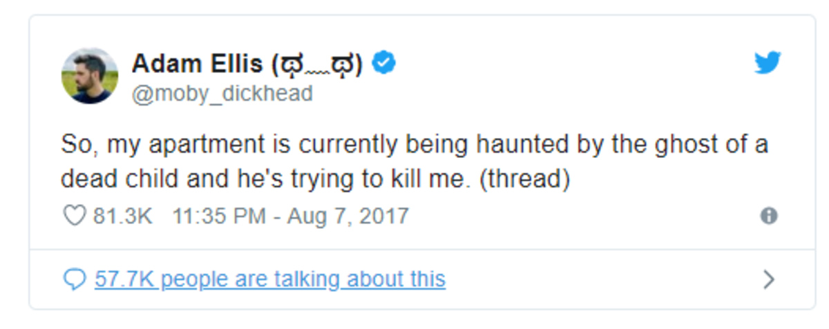 Ellis' first Tweet about the ghost.