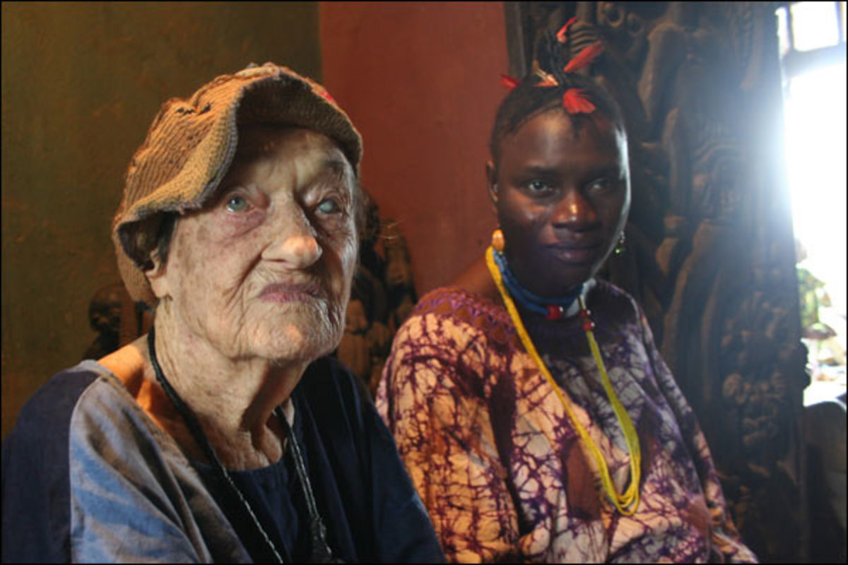 Susanne Wenger and her colleague. The 94-year-old Austrian has lived in Osogbo for 58 years and has become a high priestess of Osun
