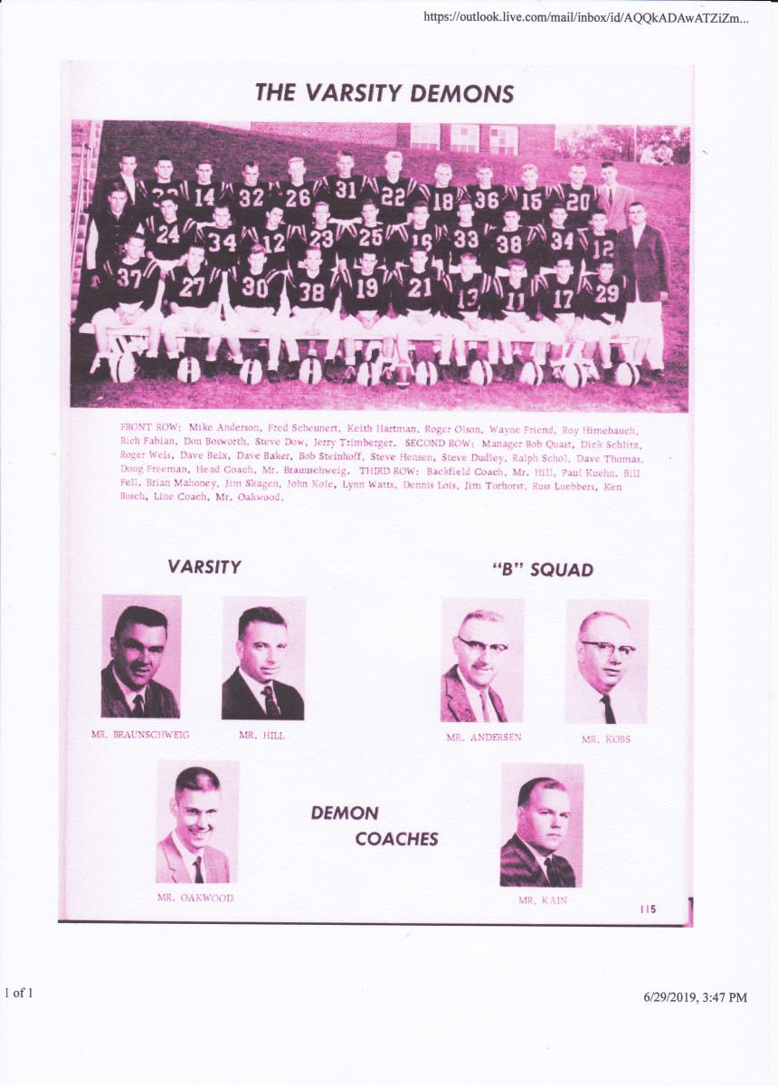 Coach Braunschweig with the 1961 varsity football team