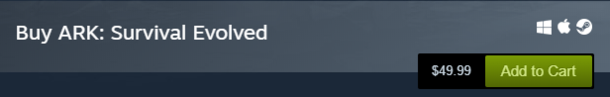 The price of ARK: Survival Evolved in the Steam store (while not on sale)