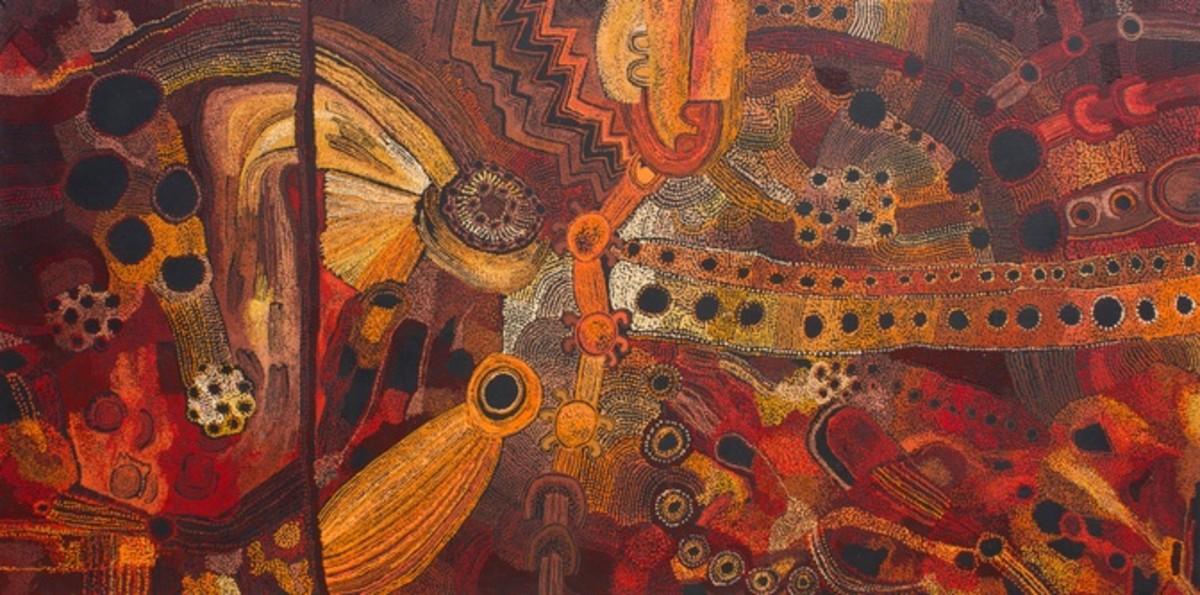Kanpi Women's Collaborative: Maringka Baker, Teresa Baker, Kani Tunkin, Pitjantjatjara language group. Minyma Tjutangku Kunpu Kanyini, 2017 Acrylic on Canvas, 59 1/8 x 118 1/8 in. (150 x 300 cm), Fondation Opale, Switzerland. © Kanpi Women's Collabor
