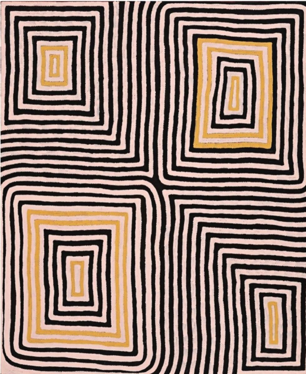 Ronnie Tjampitjinpa, Wilkinkarra (Lake Mackay), 1993, Synthetic polymer on Linen, 71 5/8 x 60 1/4 in. (182 x 153 cm), Fondation Opale, Switzerland