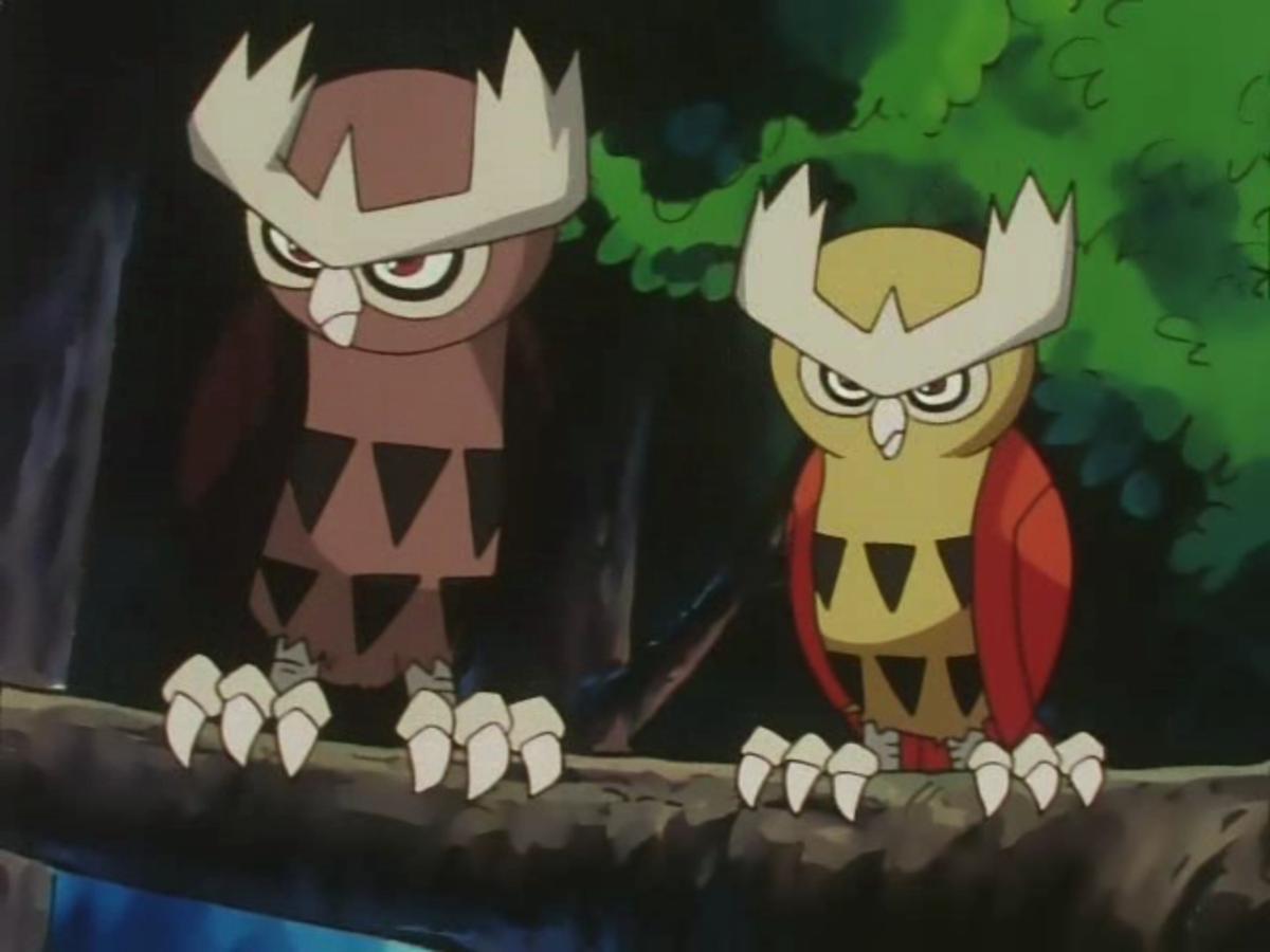 regular Noctowl vs. Ash's shiny Noctowl