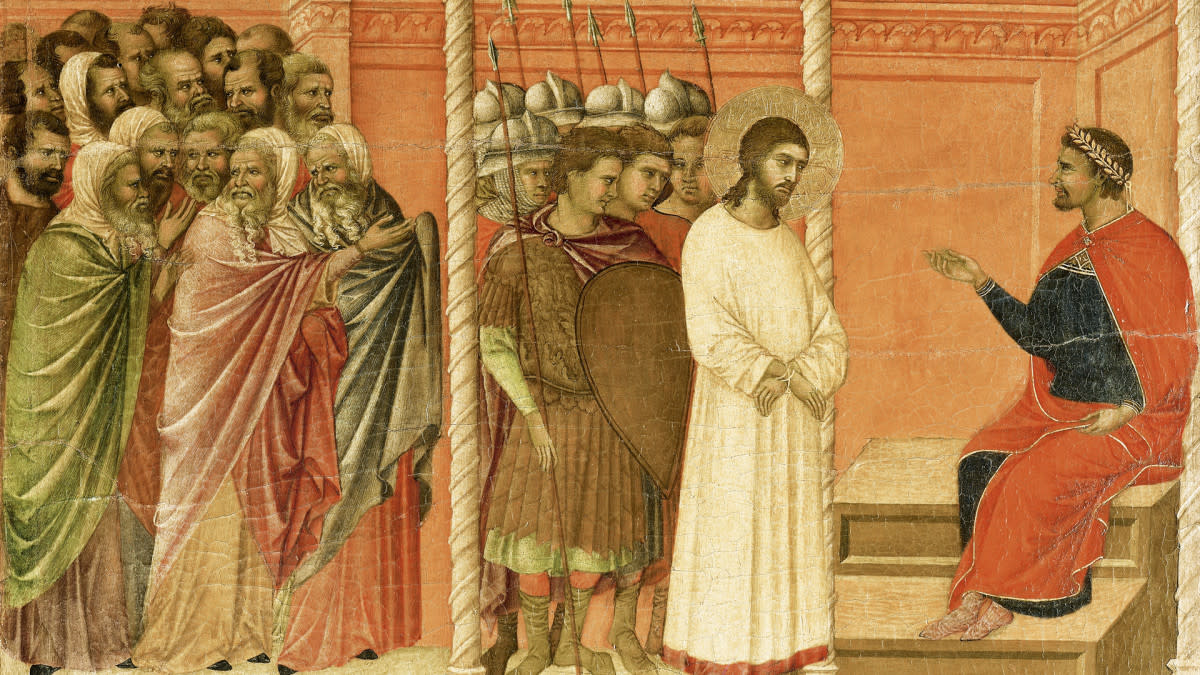 Jesus being brought to Pilate.