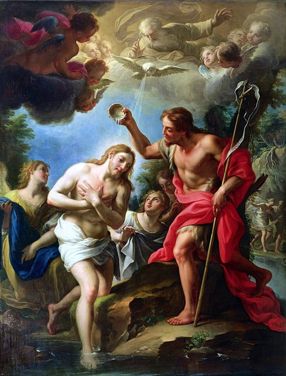 The Baptism of Jesus. Clouds often represent God in the Bible, and in this photo Father God is in the clouds. The dove represents the Holy Spirit, and Jesus is in the foreground being baptized, though not by submersion, by John the Baptist.