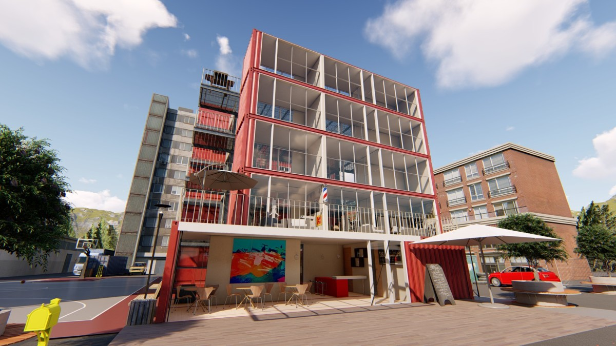 Shipping containers stacked on top of each other to make a hostel