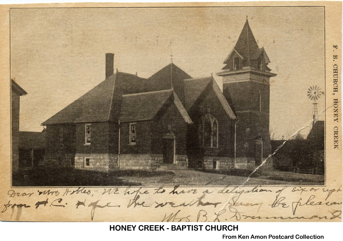 Honey Creek Baptist Church in probably the 1920s.