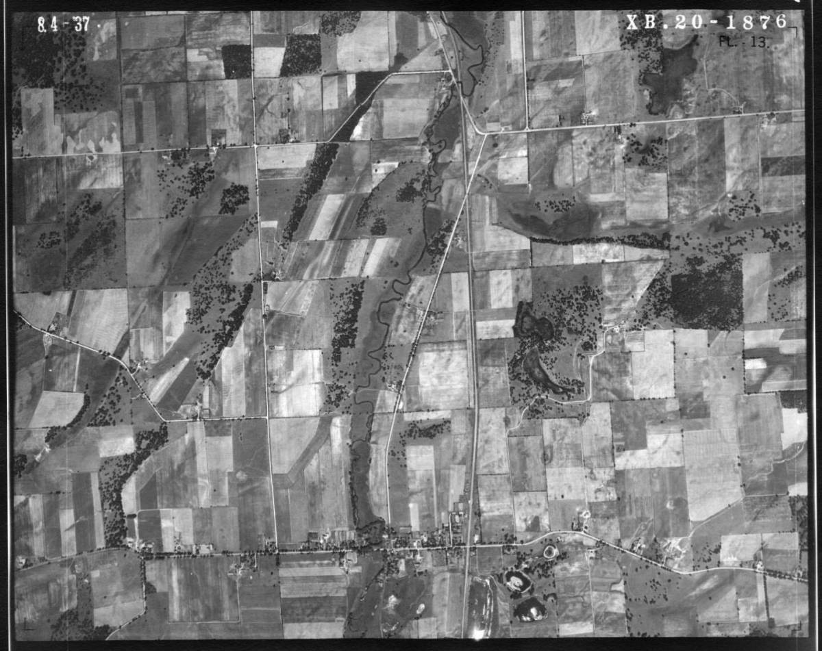 An aerial view of Honey Creek and surrounding areas.  The village of Honey Creek is in the middle bottom part of the  photo.