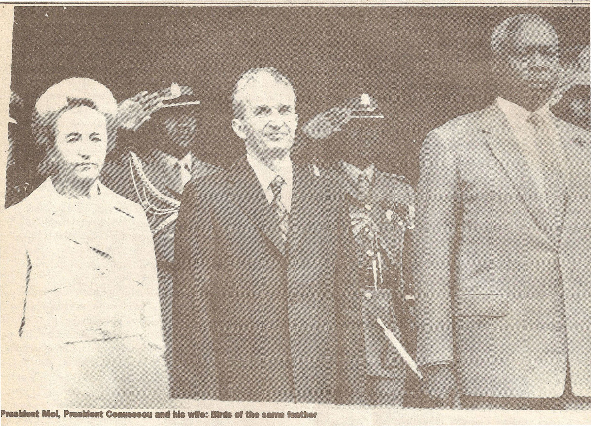 President Moi is seen here with Ceausescu, a former Romanian president