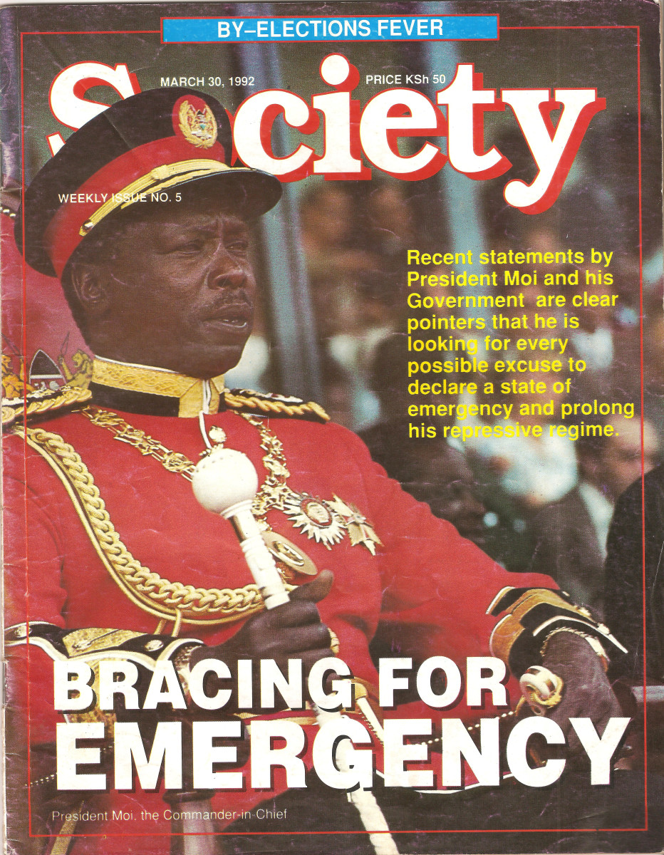 The Second President of Kenya dressed up as the Commander in Chief of the Armed Forces.