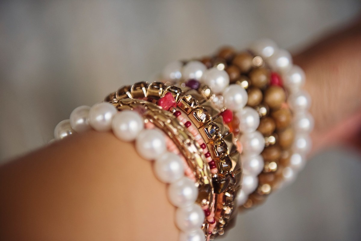 pearls and precious stones