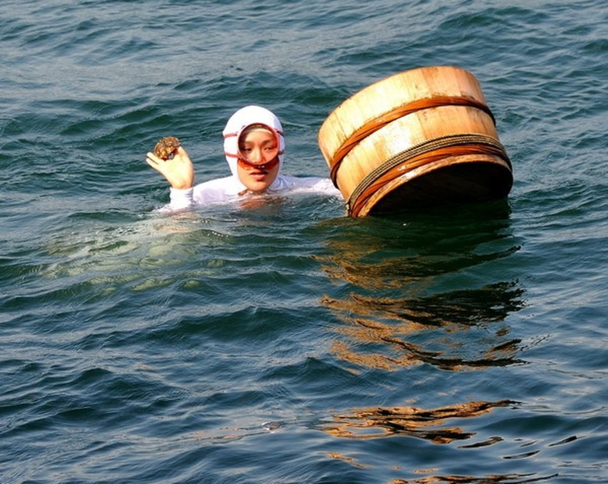 woman holding a basket in water