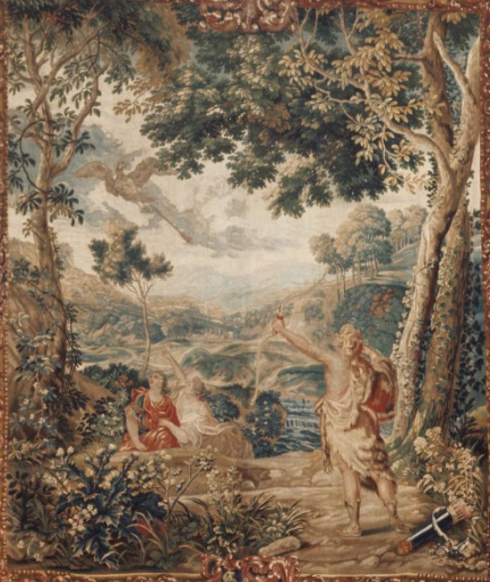 Hercules and the Stymphalian Birds, Studio of Jacob van der Borght the Elder, 1699.