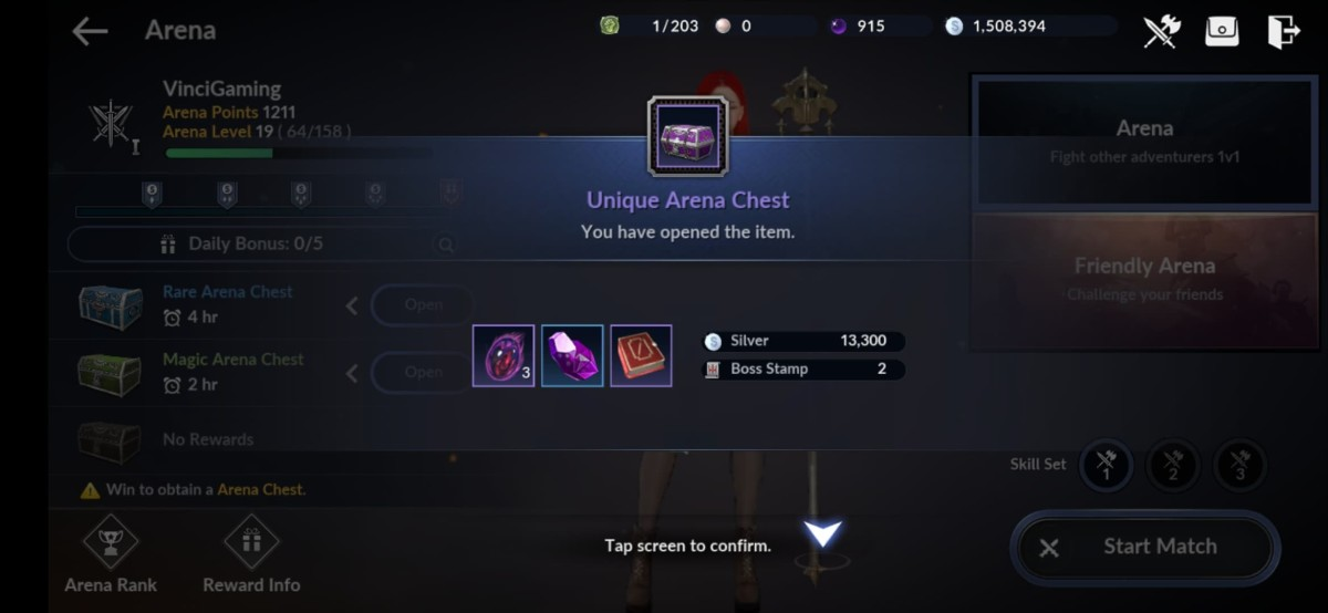 Opening Unique Chests in the Arena