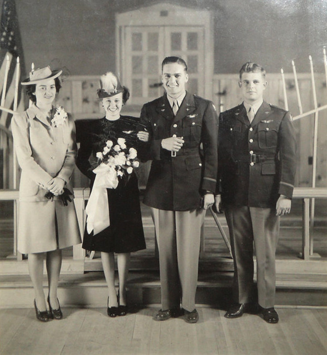 A couple who recently tied the knot during World War II.