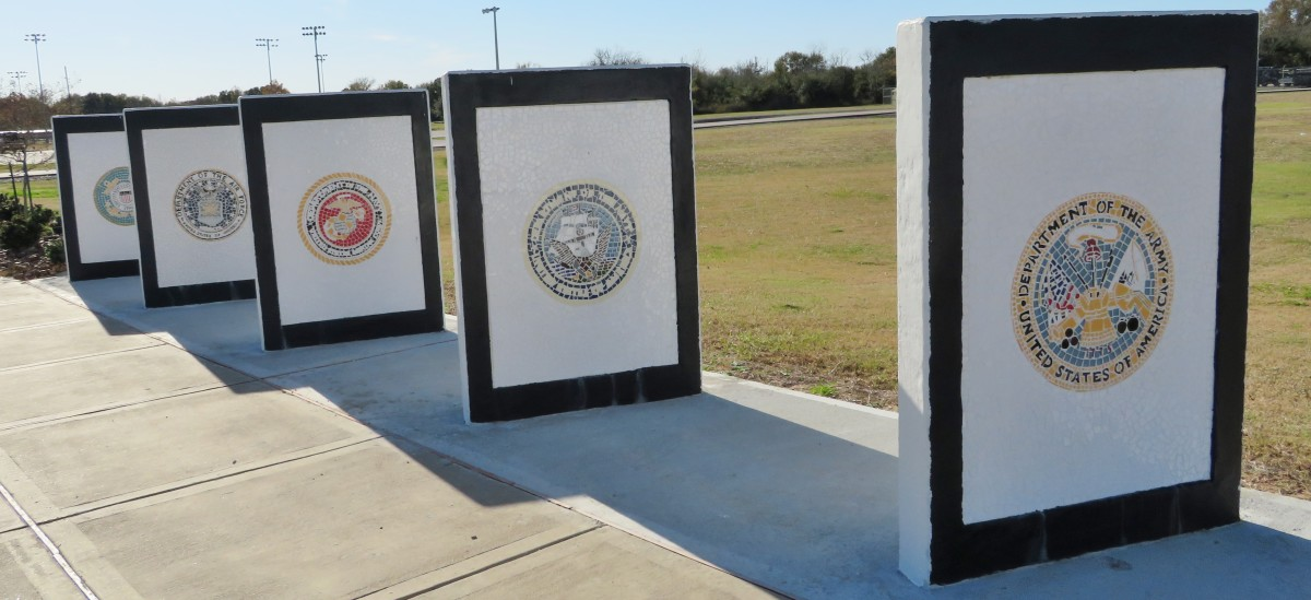 Mosaic murals honoring the five branches of service in Freedom Park