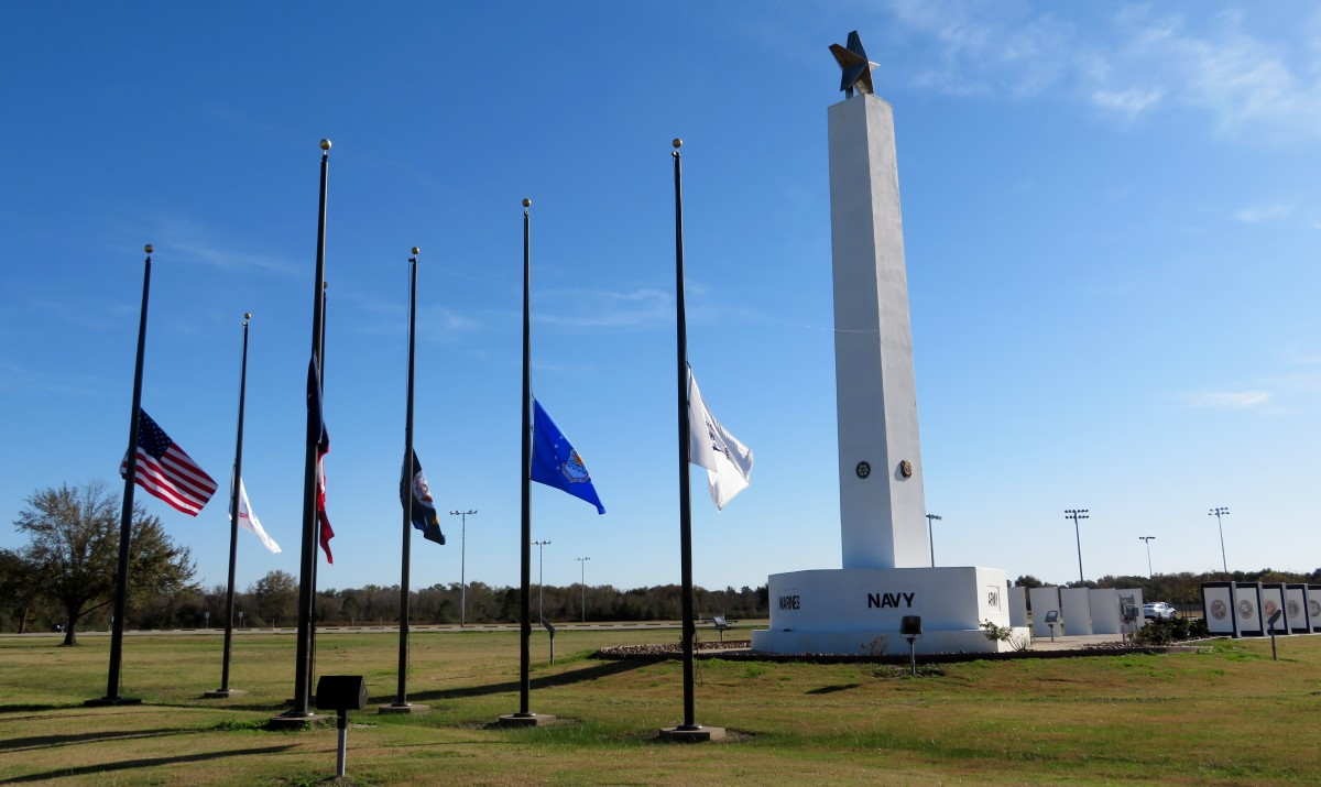 The flags were at half staff due to the passing of President George H.W. Bush at the day of our visit to Freedom Park.